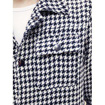 Snap Front Houndstooth Pocket Wool Blend Coat - WHITE WHITE