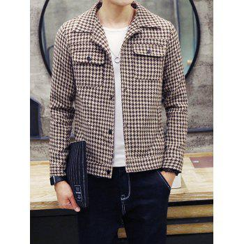 Snap Front Houndstooth Pocket Wool Blend Coat - COFFEE COFFEE