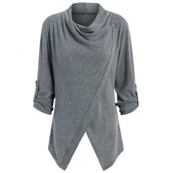 Knitted Button Asymmetric Cardigan