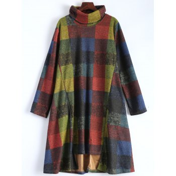 Colorful Plaid Turtleneck Oversized Dress