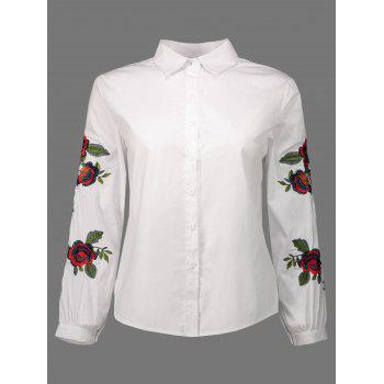 Floral Embroidery Puff Sleeve Shirt