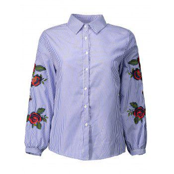 Rose Embroidered Striped Shirt