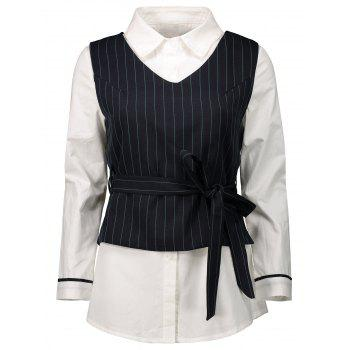 Striped Belted Waistcoat with Blouse