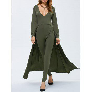 Plunging Neck Long Sleeve Skirted Jumpsuit