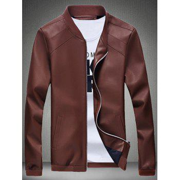 Stand Collar Stitching Faux Leather Jacket