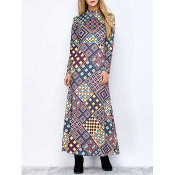 Mock Neck Long Sleeve Aztec Print Maxi Dress