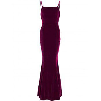 Velvet Maxi Party Formal Slip Tight Mermaid Prom Dress
