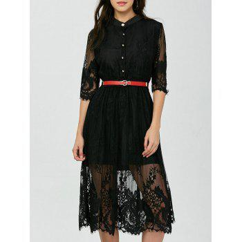 Lace Tea Dress With Belt