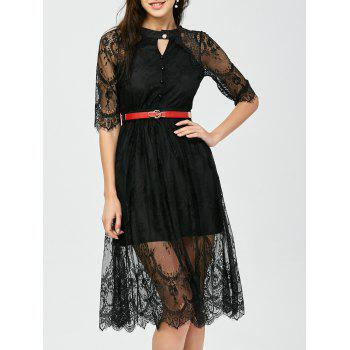 Eyelash Lace Midi Sheer A Line Dress