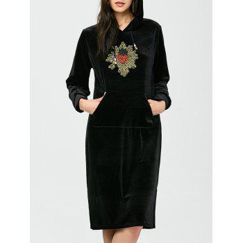 Rhinestone Velvet Hooded Dress