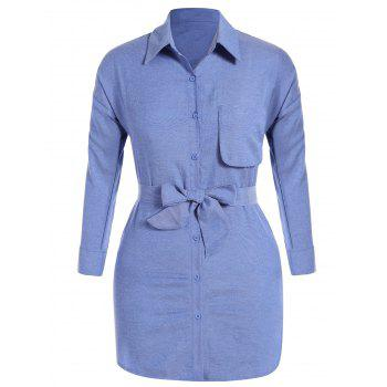 Plus Size Button Up Belted Dress