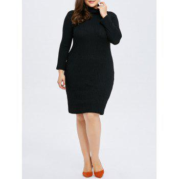Plus Size Sheath Ribbed Knit T Shirt Dress