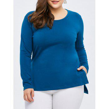 Plus Size Long Sleeve Side Slit Tee