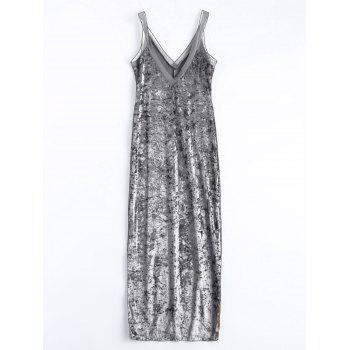 Velvet Mesh Insert Slip Fitted Dress - SILVER S
