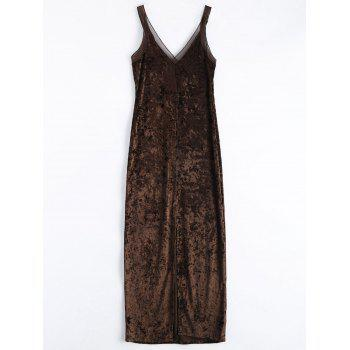 Crushed Velvet Mesh Strap Long Dress