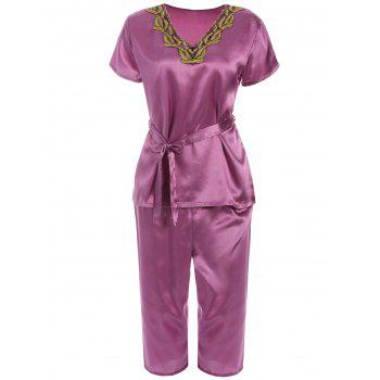 Lace Insert Pajama Set with Belt