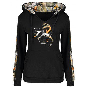 Drawstring Print Insert Hoodie with Pocket