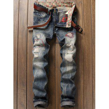 Zigzag Stitch Zipper Fly Pocket Ripped Jeans