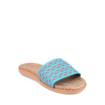 Geometric Pattern Color Block House Slippers