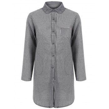 Linen Blend Checked Tunic Shirt