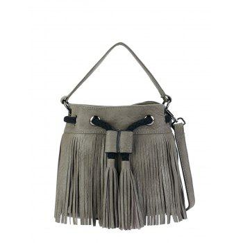 Tassel Drawstring Fringed Bucket Bag