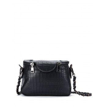 Chains Crocodile Embossed Cross Body Bag