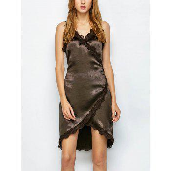 Lace Trim Satin Sleeveless Fitted Wrap Dress