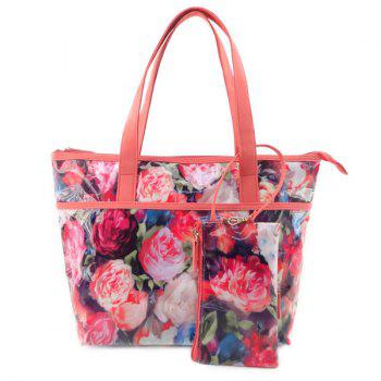 2Pc Wristlets and Flower Pattern Tote Set
