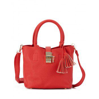 Faux Leather Tassel Metal Embellished Handbag