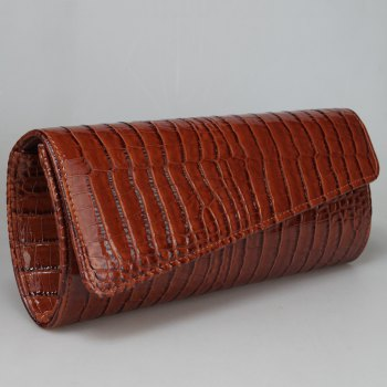 Crocodile Embossed Flapped Evening Bag -  BROWN