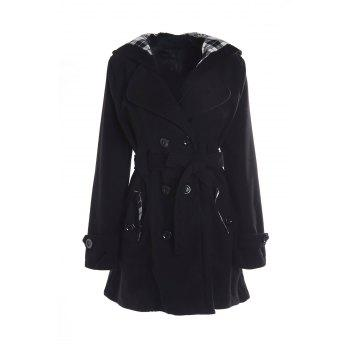 Stylish Double-Breasted Hooded Long Sleeve Worsted Coat For Women
