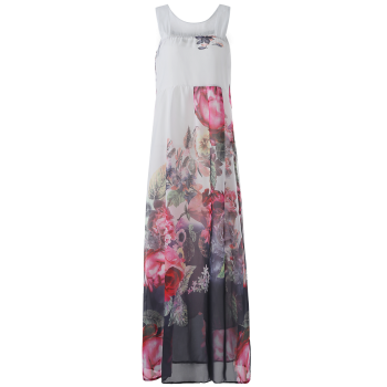 Buy Round Neck Sleeveless Floral Print Maxi Dress WHITE