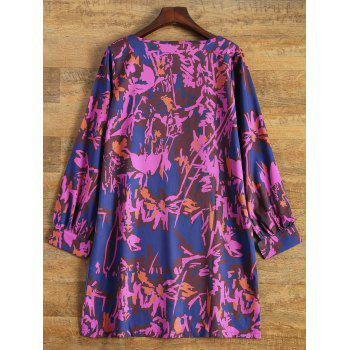 Long Sleeve Printed Tunic Day Dress - L L