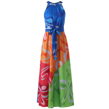 Maxi robe multicolore sans manches