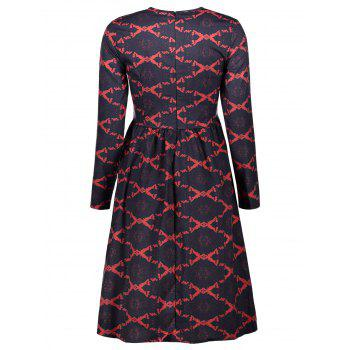 Argyle Fit and Flare Dress - RED S