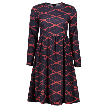 Argyle Fit and Flare Dress - RED RED