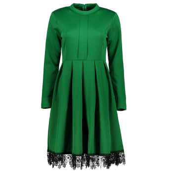 Stand Collar Long Sleeves Lacework Dress - GREEN M