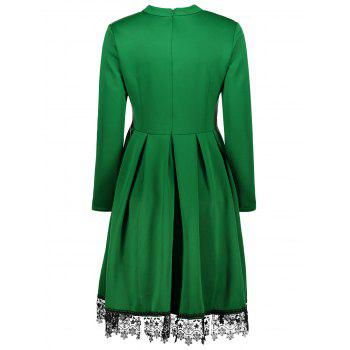 Stand Collar Long Sleeves Lacework Dress - GREEN XL