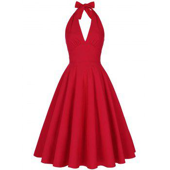 Backless Plunge Halter Vintage Skater Party Dress