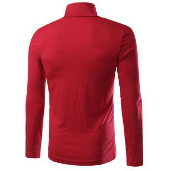 Turtleneck Plain Slim Fit Long Sleeve T-Shirt - RED 4XL