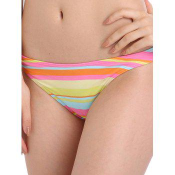Colorful Stripe Low Waist Surf Bikini Bottom - multicolorCOLOR XL