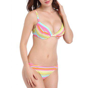 Colorful Stripe Low Waist Surf Bikini Bottom - multicolorCOLOR L