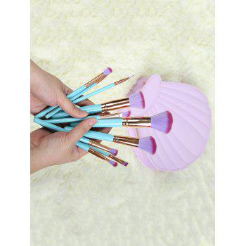 10 Pcs Makeup Brushes Set with Scallop Brush Bag - BLUE BLUE