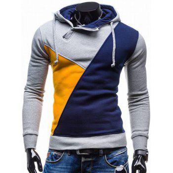 Contrast Color Side Zip Up Pullover Hoodie - BLUE BLUE