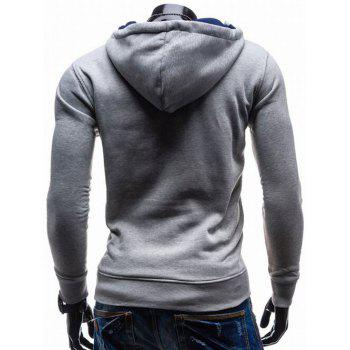 Contrast Color Side Zip Up Pullover Hoodie - BLUE M