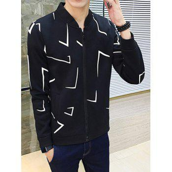 Zip Up Geometric Print Jacket - BLACK 2XL