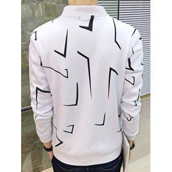 Zip Up Geometric Print Jacket - WHITE L