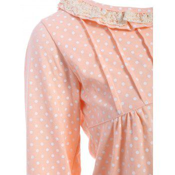 Polka Dot Button Up Loungewear Set - Orange Rose M