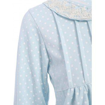 Polka Dot Button Up Loungewear Set - LIGHT BLUE M