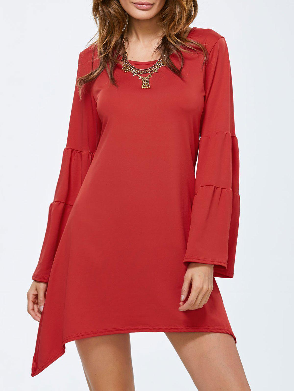 Flare Sleeve Short Dress - RED XL